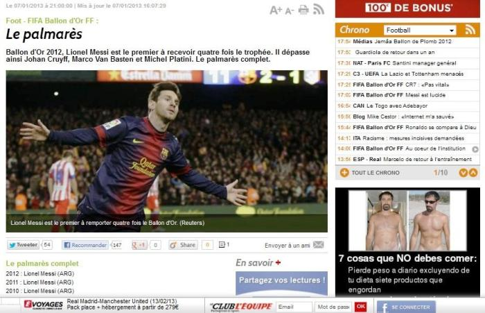 Leo Messi Winner Ballon d'or 2013 pic capture lequipe 7 january
