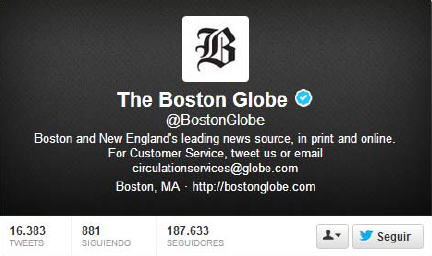 BostonGlobe Twitter account statistics followers marathon bombing 15 april 2013