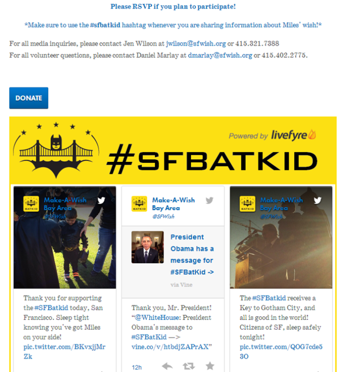 creating involvement in twitter promoting a hashtag #sfbatkid make-a-wish