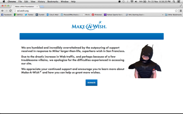 make a wish down for traffic due to miles batkid action