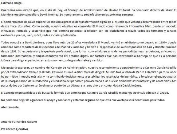 carta anuncio nombramiento david jimenez